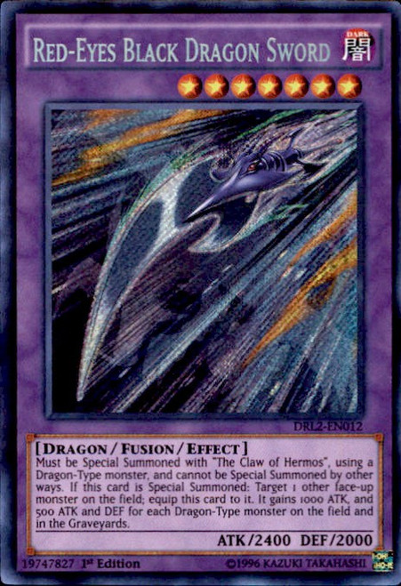 YuGiOh Dragons of Legend 2 Secret Rare Red-Eyes Black Dragon Sword DRL2-EN012
