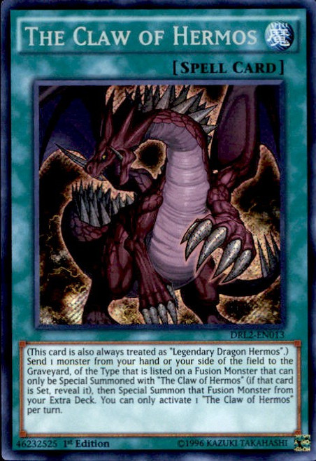 YuGiOh Dragons of Legend 2 Secret Rare The Claw of Hermos DRL2-EN013