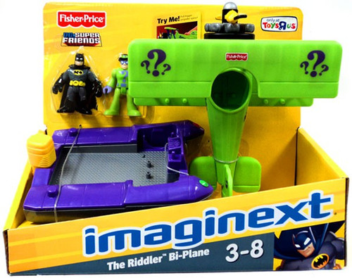 Fisher Price DC Super Friends Imaginext The Riddler Bi-Plane Exclusive 3-Inch Figure Set