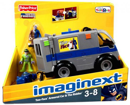 Fisher Price DC Super Friends Imaginext Two-Face Armored Car & The Riddler Exclusive 3-Inch Figure Set