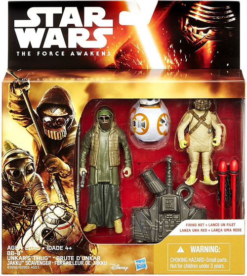 Star Wars The Force Awakens BB-8, Unkars Thug & Jakku Scavenger Action Figure 3-Pack [Firing Net]