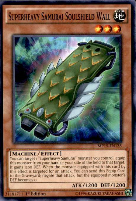 YuGiOh 2015 Mega-Tin Mega Pack Common Superheavy Samurai Soulshield Wall MP15-EN135