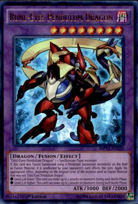 YuGiOh 2015 Mega-Tin Mega Pack Ultra Rare Rune-Eyes Pendulum Dragon MP15-EN220