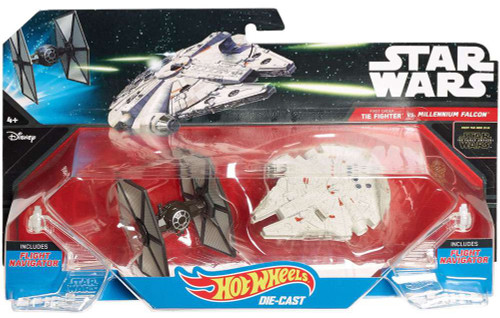 Star Wars The Force Awakens Hot Wheels First Order TIE Fighter vs. Milliennum Falcon 3-Inch Die-Cast Car