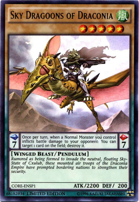 YuGiOh Clash of Rebellions Ultra Rare Sky Dragoons of Draconia CORE-ENSP1