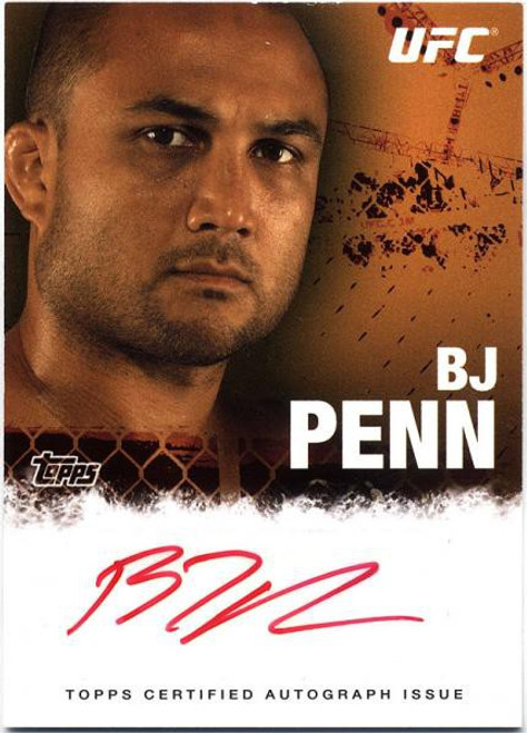 Topps UFC 2010 Championship BJ Penn Autograph Fighters & Personalities Autograph Card FA-BP