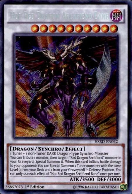YuGiOh High-Speed Riders Secret Rare Hot Red Dragon Archfiend Bane HSRD-EN042