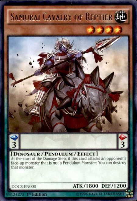 YuGiOh Dimension of Chaos Rare Samurai Cavalry of Reptier DOCS-EN000