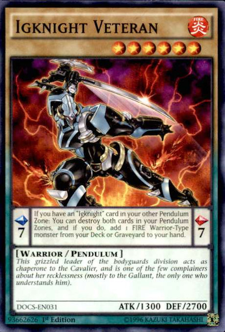 YuGiOh Dimension of Chaos Common Igknight Veteran DOCS-EN031
