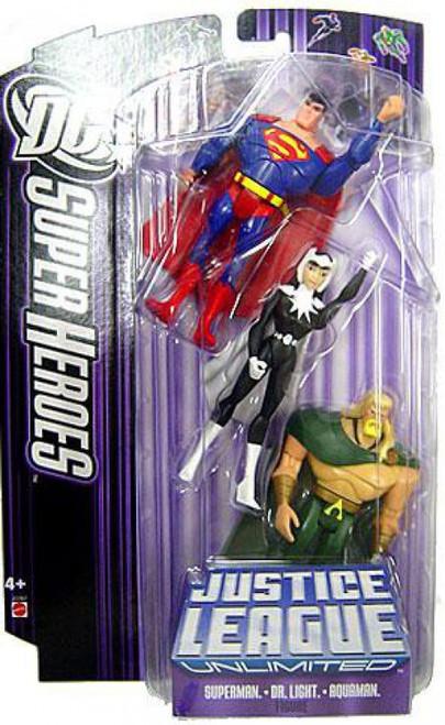 DC Justice League Unlimited Super Heroes Superman, Aquaman & Dr. Light Action Figures [Purple Card]