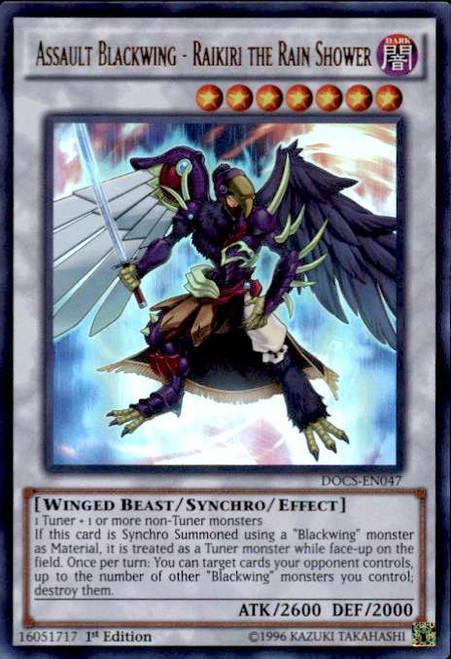 YuGiOh Dimension of Chaos Ultra Rare Assault Blackwing - Raikiri the Rain Shower DOCS-EN047