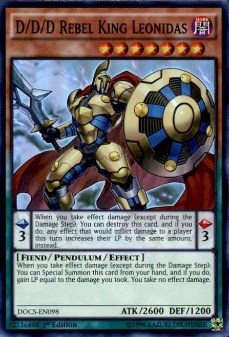 YuGiOh Dimension of Chaos Super Rare D/D/D Rebel King Leonidas DOCS-EN098