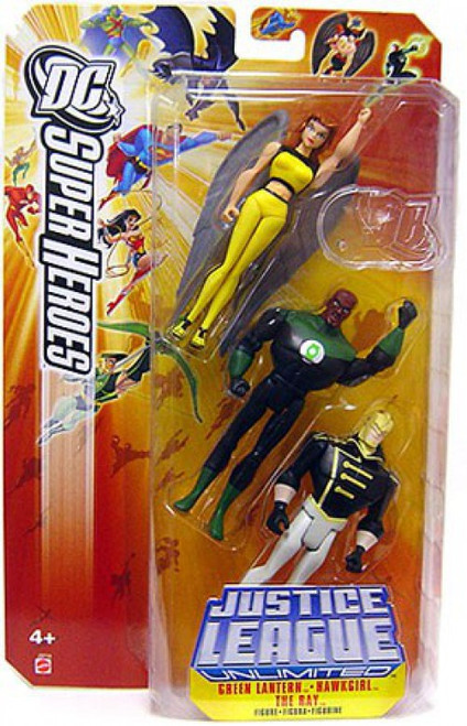 DC Justice League Unlimited Super Heroes Green Lantern, Hawkgirl & The Ray Exclusive Action Figure Set