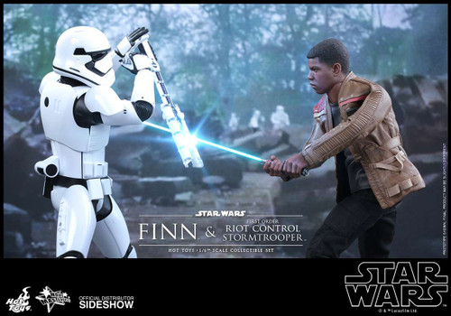 Star Wars The Force Awakens Finn and First Order Riot Control Stormtrooper Collectible Figure