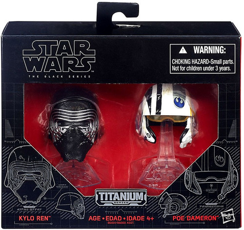 Star Wars The Force Awakens Black Titanium Kylo Ren & Poe Dameron 2-Inch Diecast Helmet 2-Pack