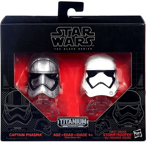 Star Wars The Force Awakens Black Titanium Captain Phasma & Stormtrooper 2-Inch Diecast Helmet 2-Pack