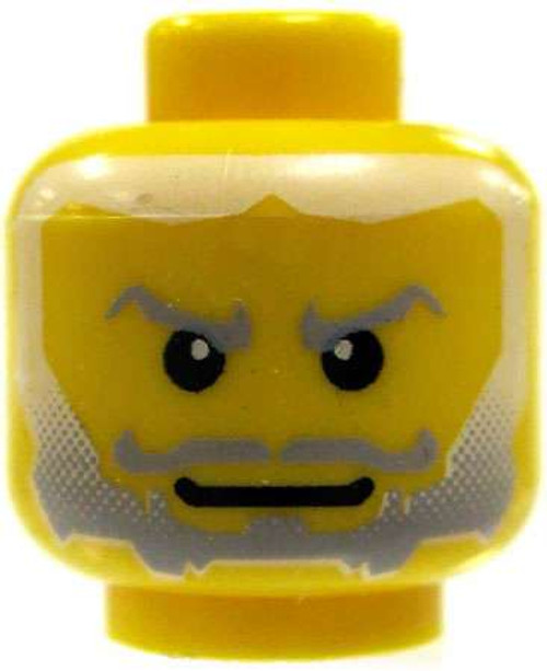 Gray Beard Fading to White Hair Minifigure Head [Yellow Loose]