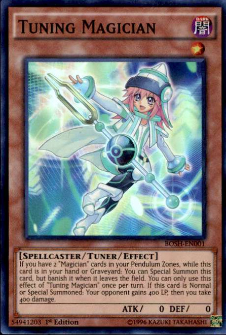 YuGiOh Breakers of Shadow Super Rare Tuning Magician BOSH-EN001