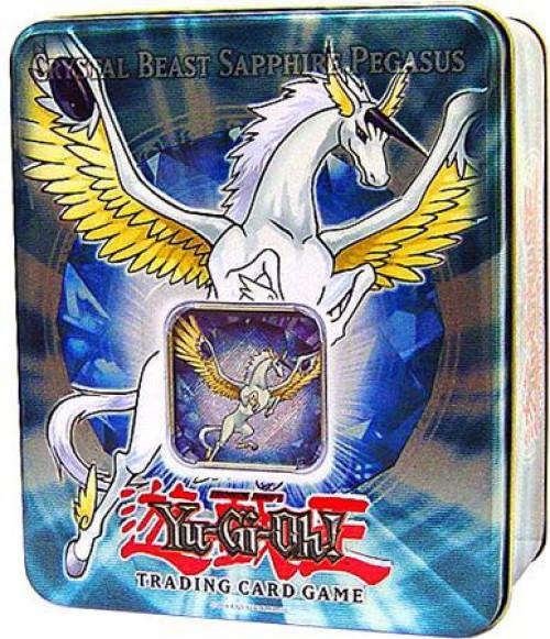 YuGiOh GX Trading Card Game 2007 Crystal Beast Sapphire Pegasus Tin Set