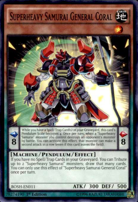 YuGiOh Breakers of Shadow Common Superheavy Samurai General Coral BOSH-EN011