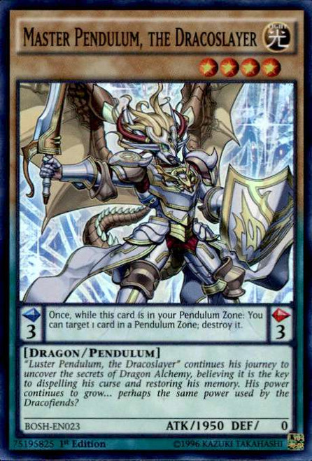 YuGiOh Breakers of Shadow Super Rare Master Pendulum, the Dracoslayer BOSH-EN023