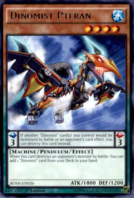 YuGiOh Breakers of Shadow Rare Dinomist Pteran BOSH-EN026