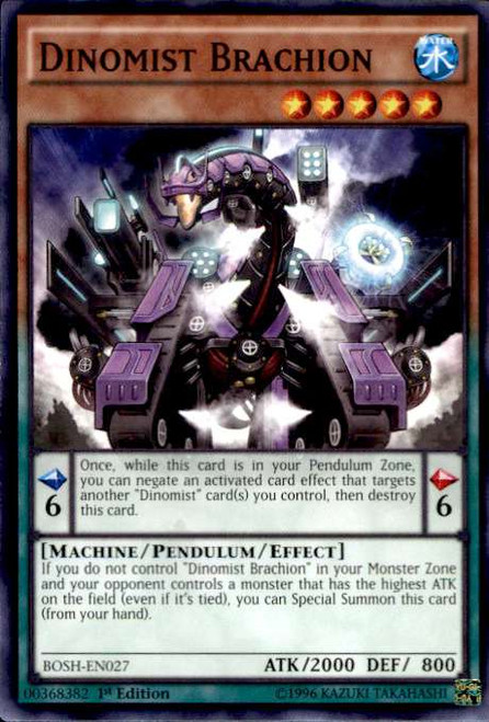 YuGiOh Breakers of Shadow Common Dinomist Brachion BOSH-EN027