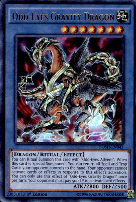YuGiOh Breakers of Shadow Ultra Rare Odd-Eyes Gravity Dragon BOSH-EN043