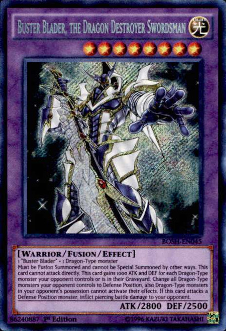 YuGiOh Breakers of Shadow Secret Rare Buster Blader, the Dragon Destroyer Swordsman BOSH-EN045