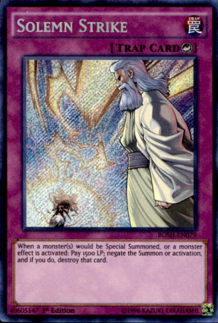 YuGiOh Breakers of Shadow Secret Rare Solemn Strike BOSH-EN079