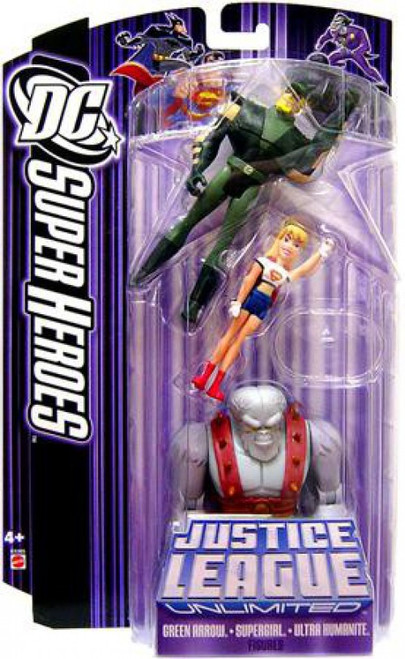 DC Justice League Unlimited Super Heroes Green Arrow, Supergirl & Ultra Humanite Action Figure 3-Pack