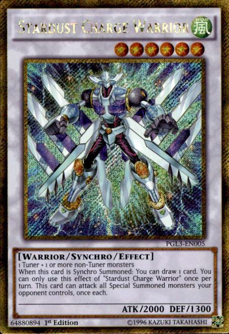 YuGiOh Premium Gold: Infinite Gold Gold Secret Rare Stardust Charge Warrior PGL3-EN005
