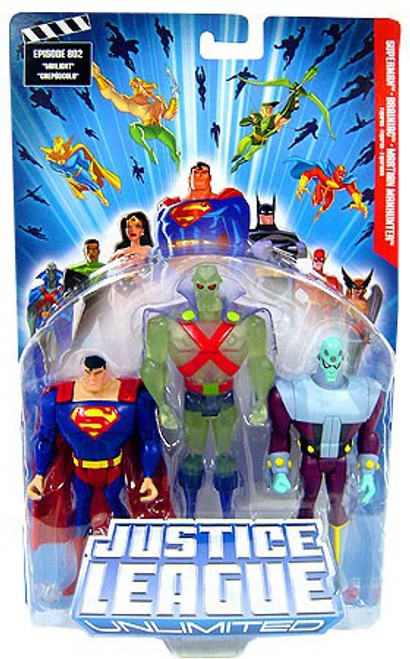 Justice League Unlimited Series 1 Superman, Martian Manhunter & Brainiac Action Figure 3-Pack [Clear Green]