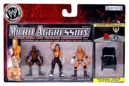 WWE Wrestling Micro Aggression Series 8 Triple H, Jeff Hardy & Bobby Lashley Mini Figure 3-Pack [Folding Chair]