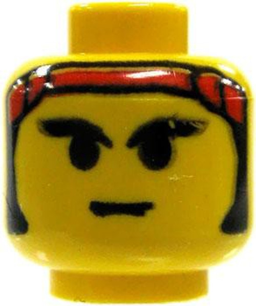 Samurai with Red Headband Minifigure Head [Yellow Loose]