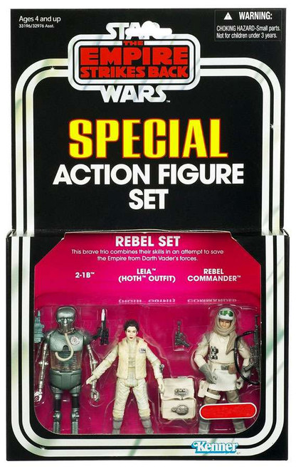 Star Wars The Empire Strikes Back Vintage Special 2-1B, Leia Hoth Outfit, Rebel Commander Exclusive Action Figure 3-Pack [Rebel Set]