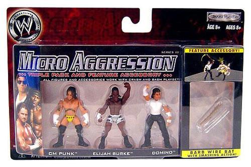 WWE Wrestling Micro Aggression Series 10 CM Punk, Elijah Burke & Domino Mini Figure 3-Pack