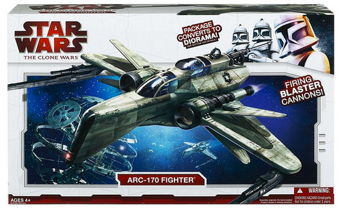 Star Wars The Clone Wars 2009 ARC-170 Fighter Action Figure Vehicle