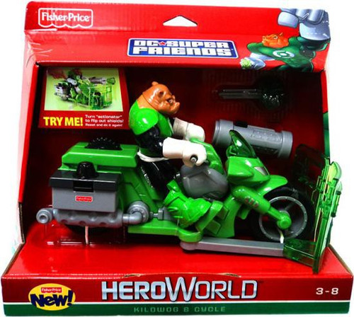 Fisher Price Green Lantern DC Super Friends Hero World Kilowog & Cycle Action Figure Set