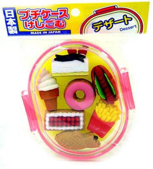 Iwako Deluxe Snacks & Cakes Eraser Set [Pink Case]