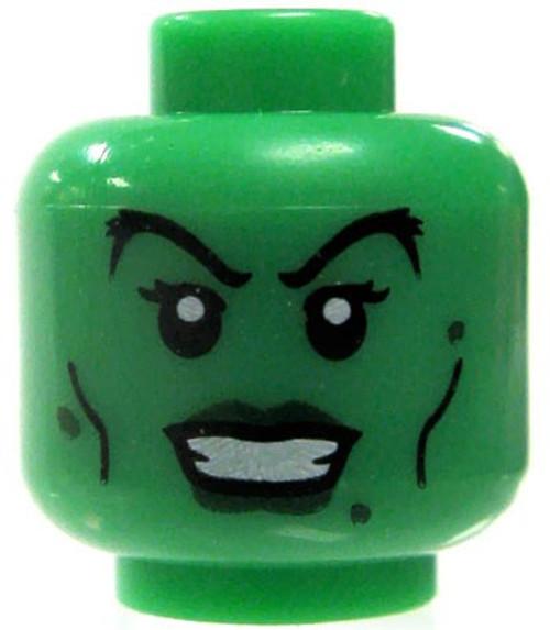 Green Female Arched Eyebrows & Dark Green Lips Minifigure Head [Loose]