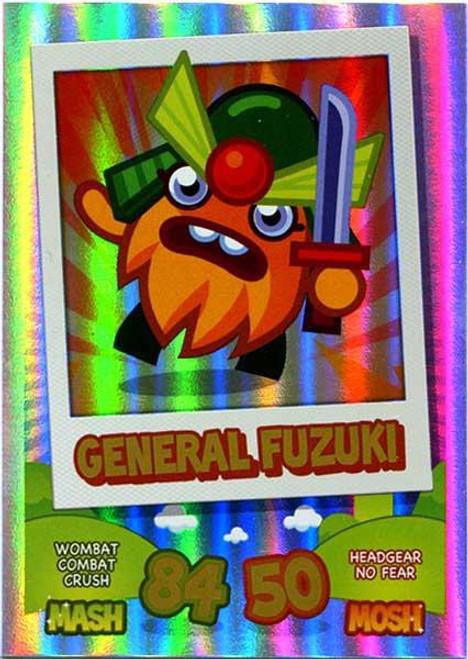 Moshi Monsters Topps Mash Up! Rainbow Foil Card General Fuzuki