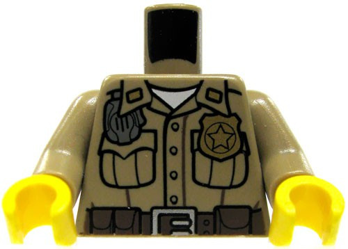 LEGO Dark Tan Male Officer with Radio & Badge Loose Torso [Loose]