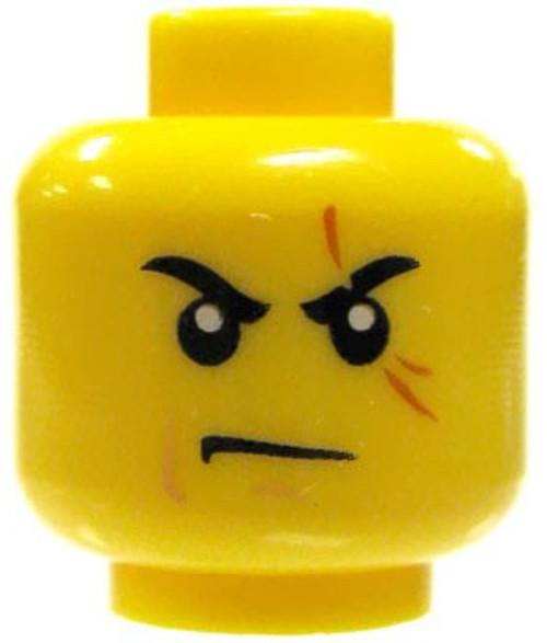 Scowl & Scar on Left Eye Minifigure Head [Yellow Male Loose]