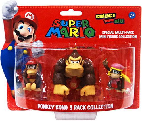 Super Mario Multi-Pack Collection Donkey Kong 4-Inch Mini Figure 3-Pack