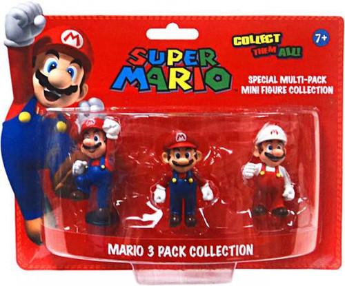 Super Mario Multi-Pack Collection Mario 4-Inch Mini Figure 3-Pack