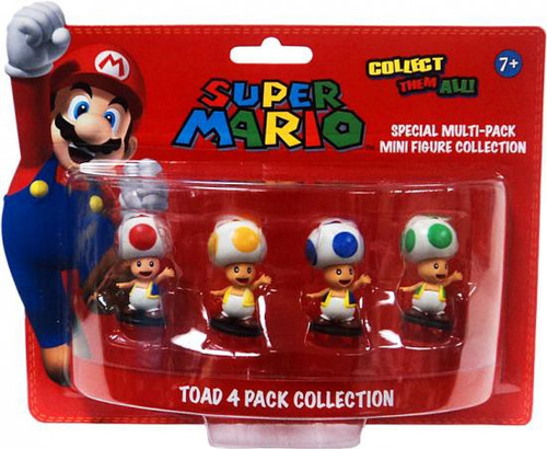 Super Mario Multi-Pack Collection Toad 4-Inch Mini Figure 3-Pack