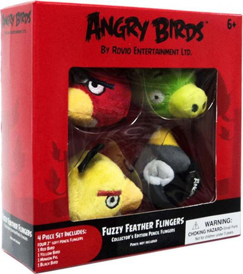 Angry Birds Fuzzy Feather Flingers 2-Inch Pencil Toppers [Red, Yellow, Black & Pig]