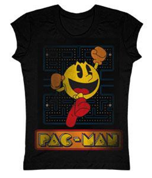Pac Man Jumping Faded T-Shirt [Juniors Small]