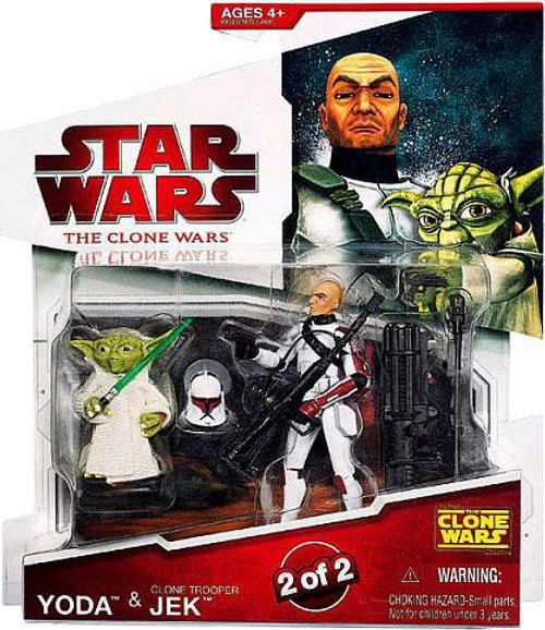 Star Wars The Clone Wars 2009 Yoda & Clone Trooper Jek Action Figure 2-Pack